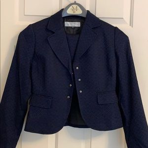 2-Piece Navy Blue and Black Tahari Skirt Suit